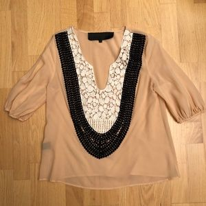 Anthropologie Blush Blouse with Lace Detail